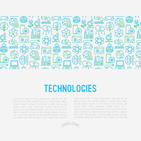 Technologies concept with thin line icons of: electric car, rocket, robotics, solar battery, machine intelligence, web development. Vector illustration for banner, web page, print media. Ilustração