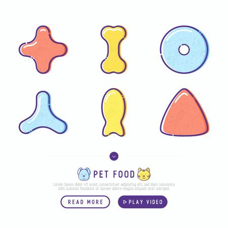 Pet food thin line icons set of dry food in different shapes and cute dog and cat. Modern vector illustration.