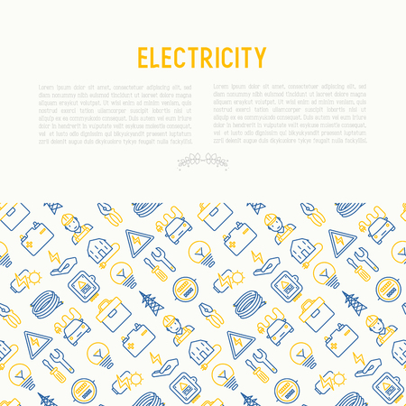 Electricity concept with thin line icons. Vector illustration for banner, web page, print media.