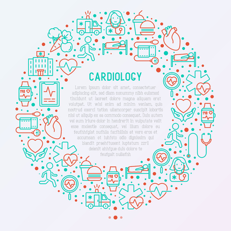 Cardiology concept in circle with thin line icons set. Modern vector illustration for banner, web page, print media.