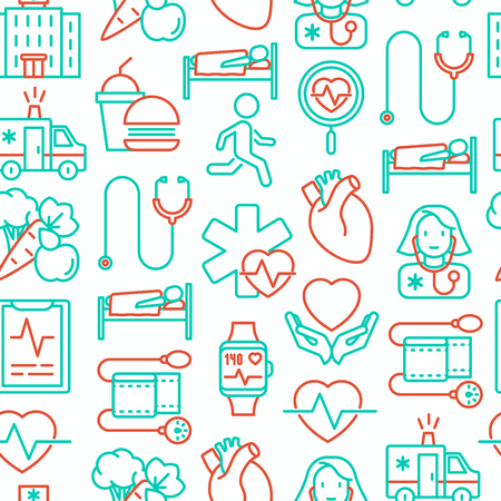 Cardiology seamless pattern with thin line icons. Modern vector illustration.