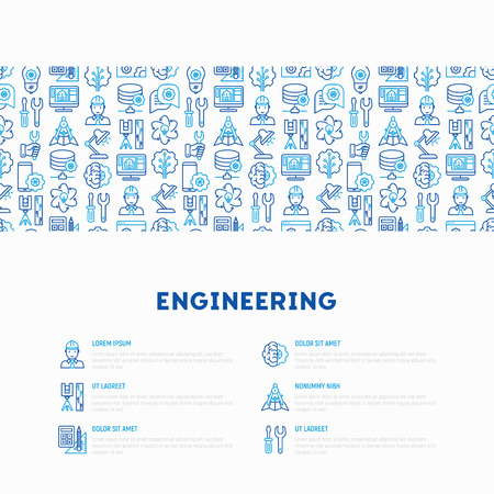 Engineering concept with thin line icons. Modern vector illustration for web page, banner, print media. Illustration