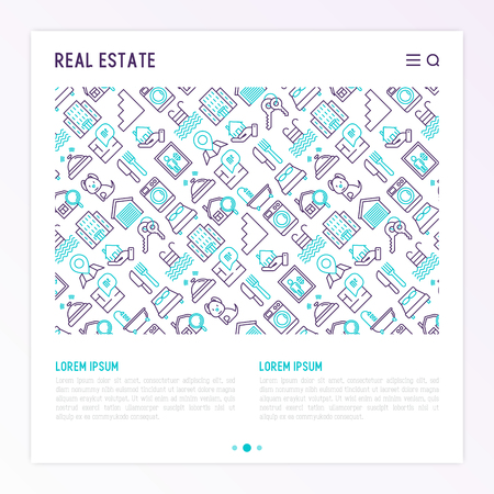 Real estate concept with thin line icons: apartment house, bedroom, keys, elevator, swimming pool, bathroom, facilities. Modern vector illustration for web page, print media.