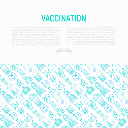 Vaccination concept with thin line icons. Illustration