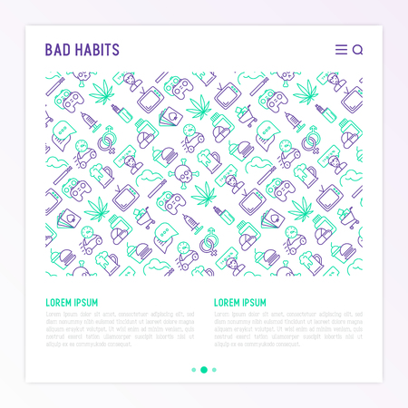 Bad habits concept with thin line icons set. Modern vector illustration for banner, print media. 일러스트