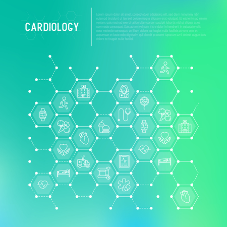 Cardiology concept in honeycombs with thin line icons set: cardiologist, stethoscope, hospital, pulsometer, cardiogram, heartbeat. Modern vector illustration for banner, web page, print media. Illustration