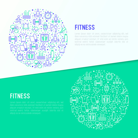 Fitness concept in circle with thin line icons of running, dumbbell, waist, healthy food, swimming pool, pulse, wireless earphones, sportswear, yoga. Modern vector illustration for banner, web page.  イラスト・ベクター素材