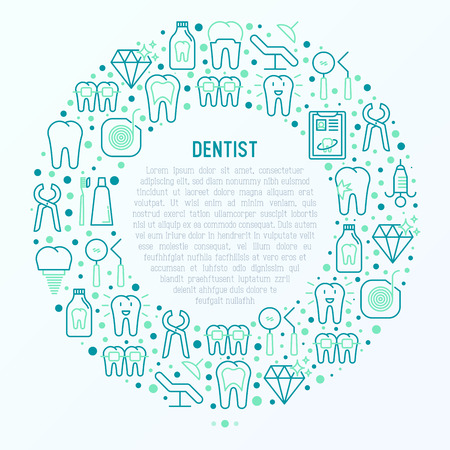 Dentist concept in circle with thin line icons of tooth, implant, dental floss, crown, toothpaste, medical equipment. Modern vector illustration for banner, web page, print media.