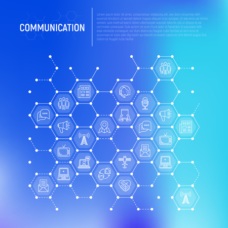Communication concept in honeycombs with thin line icons: e-mail, newspaper, letter, chat, tv, support, video call, microphone. Modern vector illustration for banner, print media, web page. Ilustração