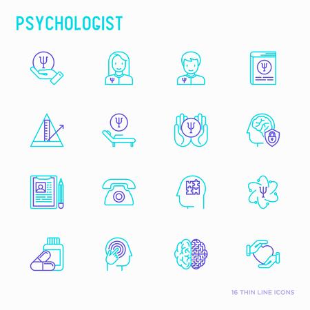 Psychologist thin line icons set: psychiatrist, disease history, armchair, pendulum, antidepressants, psychological support. Vector illustration.