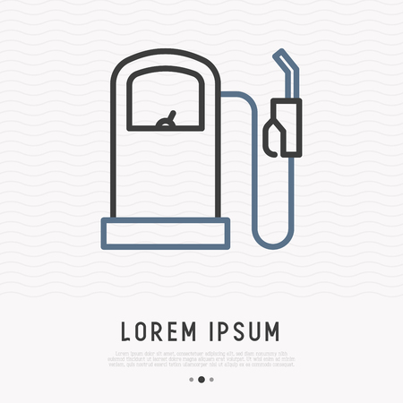 Gas station thin line icon. Modern vector illustration of fuel pump.