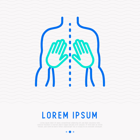 Massage thin line icon: two hands on the back. Modern vector illustration of rehabilitation.