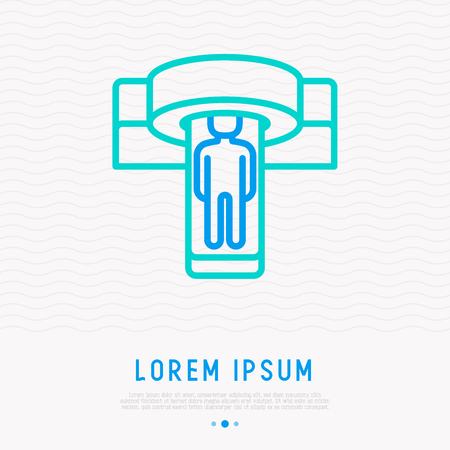 MRI scanner thin line icon. Modern vector illustration of medical equipment.