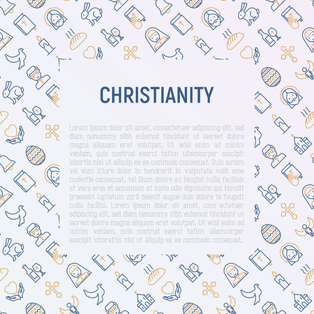 Christianity concept with thin line icons of priest, church, nun, crucifixion, Jesus, bible, dove. Vector illustration for banner, web page, print media. Иллюстрация