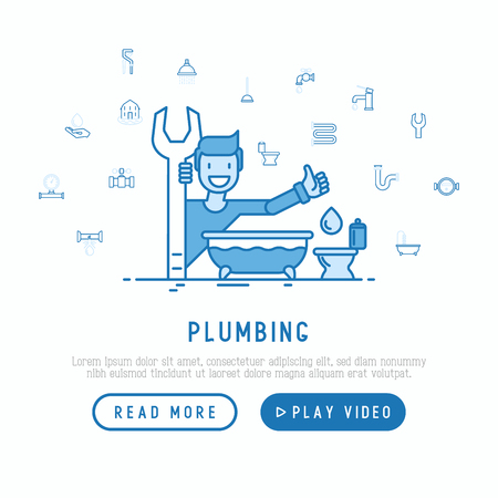 Cartoon plumber with wrench, bathtub and toilet. Plumbing concept for web page template. Thin line vector illustration.