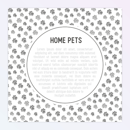 Pet paws concept with place for text. Thin line vector illustration for pet shop, training. shelter. 矢量图像
