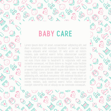 Baby care concept with thin line icons: newborn, diaper, pacifier, crib, footprints, bathtub with bubbles. Vector illustration for banner, web page, print media with place for text. Illustration