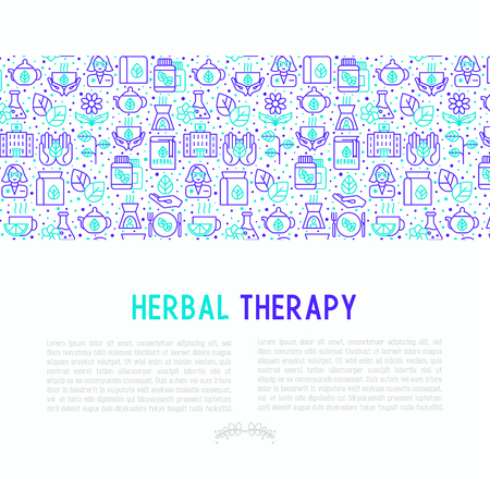 Herbal therapy concept with thin line icons: herbalist, decoction, aromatic oil, oil burner, tea. Vector illustration for banner, web page, print media.