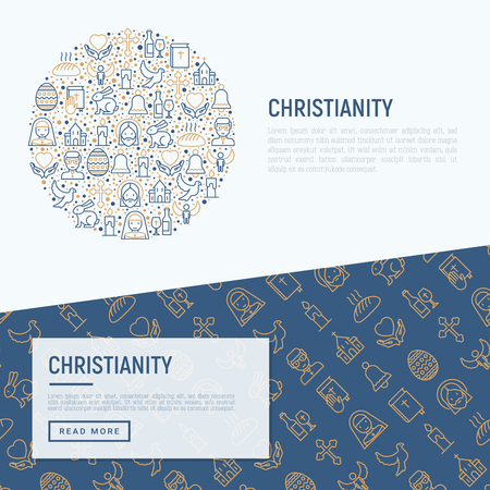 Christianity concept with thin line icons of priest, church, nun, crucifixion, Jesus, bible, dove. Vector illustration for banner, web page, print media. Vectores