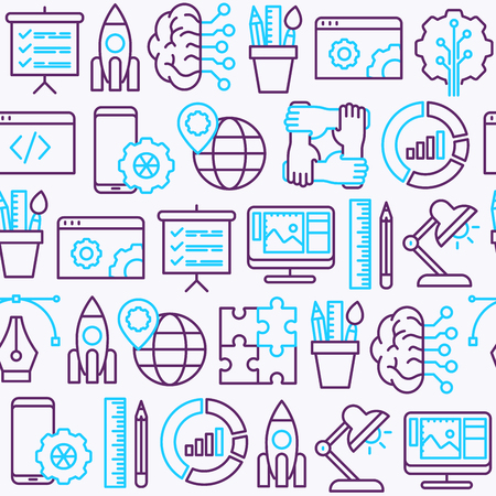 Web development seamless pattern with thin line icons of programming, graphic design, mobile app, strategy, artificial intelligence, optimization, analytics. Vector illustration for web page.