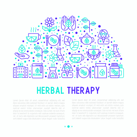 Herbal therapy concept in half circle with thin line icons: herbalist, decoction, aromatic oil, oil burner, tea. Vector illustration for banner, web page, print media.