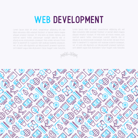 Web development concept with thin line icons of programming, graphic design, mobile app, strategy, artificial intelligence, optimization, analytics. Vector illustration for web page. Illustration