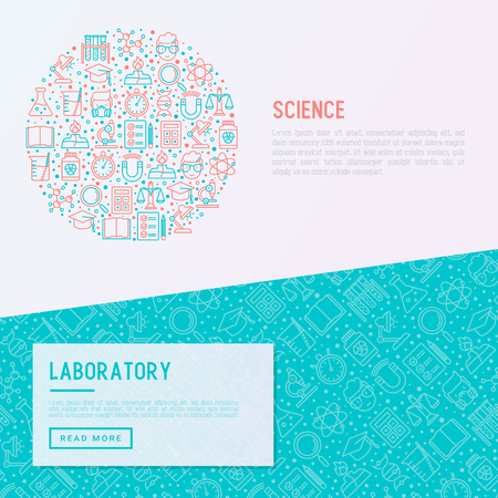 Science and laboratory concept in circle with thin line icons of scientist, dna, microscope, scales, magnet, respirator, spirit lamp. Vector illustration for banner, web page, print media. Illustration