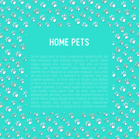 Pet paws banner concept illustration with place for text. Illustration