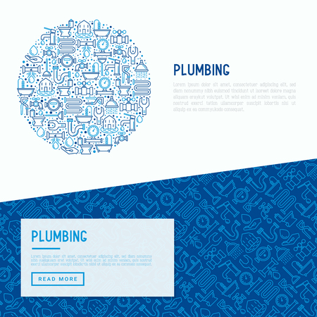 Plumbing concept with thin line icons of bathtub, shower, pipe, wrench, drop, leakage, meter, plunger. Modern vector illustration for banner, web page, print media. Illustration