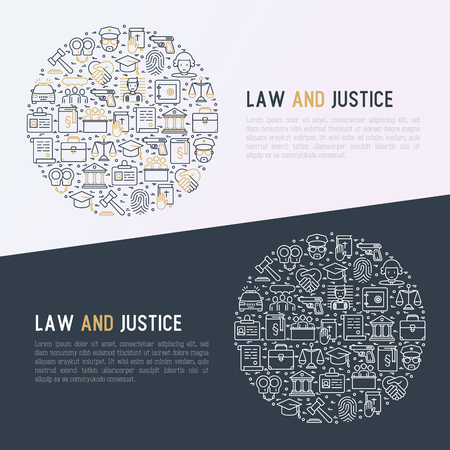 Law and justice concept in circle with thin line icons Vector illustration