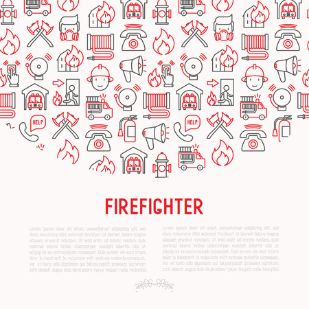 Firefighter concept with thin line icons: fire, extinguisher, axes, hose, hydrant. Modern vector illustration for banner, web page, print media. Illustration