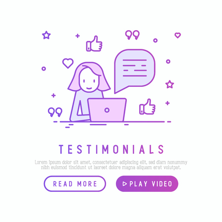 Testimonials and quote concept. Template of web page. Marketer is working on laptop with thin line icons of thumbs up around. Vector illustration. Illustration