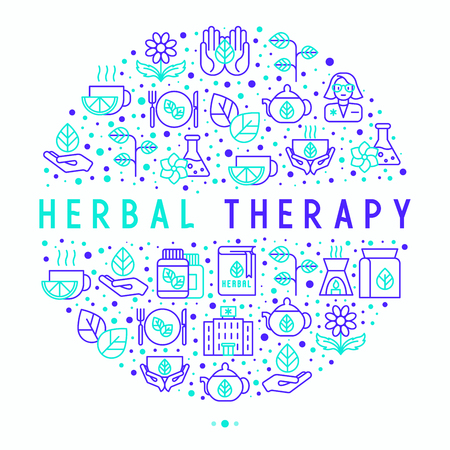 Herbal therapy concept in circle with thin line icons: herbalist, decoction, aromatic oil, oil burner, tea. Vector illustration for banner, web page, print media. 일러스트