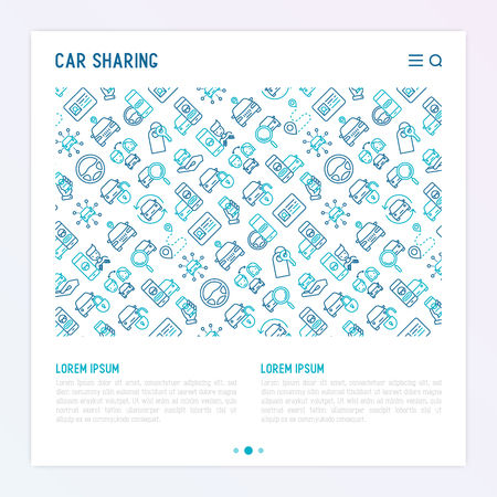 Car sharing concept with thin line icons of mobile app, driver's license, key, blocked car, pointer, available car, searching of car. Vector illustration for banner, web page, print media.