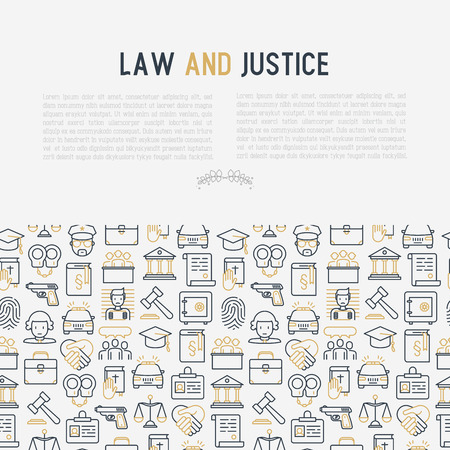 Law and justice concept with thin line icons. Illustration