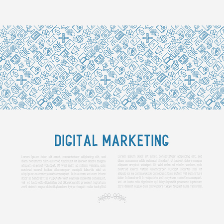 Digital marketing concept with thin line icons.