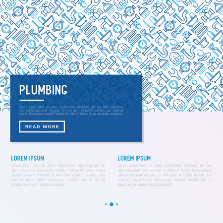 Plumbing concept with thin line icons.