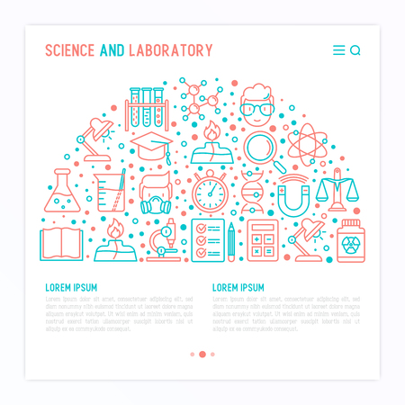 Science and laboratory concept in half circle with thin line icons. Vettoriali