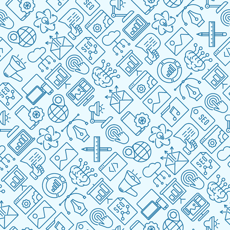 Digital marketing seamless pattern with thin line icons.