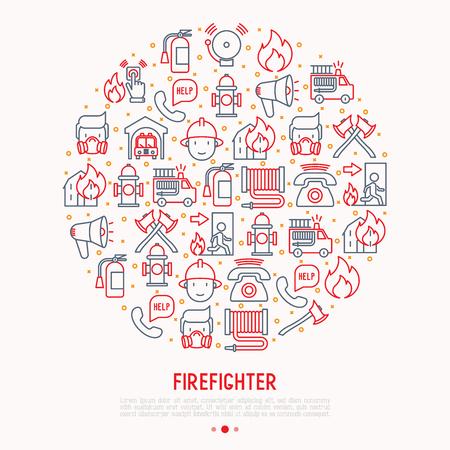 Feuerwehrkonzept im Kreis mit dünnen Linienikonen: Feuer, Feuerlöscher, Äxte, Schlauch, Hydrant. Moderne Vektorillustration für Banner, Webseite, Printmedien.