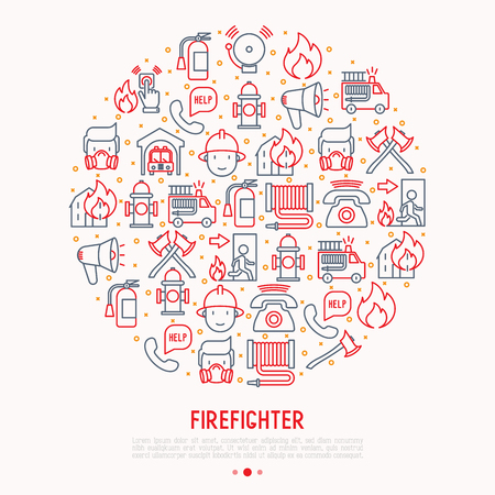 Firefighter concept in circle with thin line icons: fire, extinguisher, axes, hose, hydrant. Modern vector illustration for banner, web page, print media. Standard-Bild - 100872962