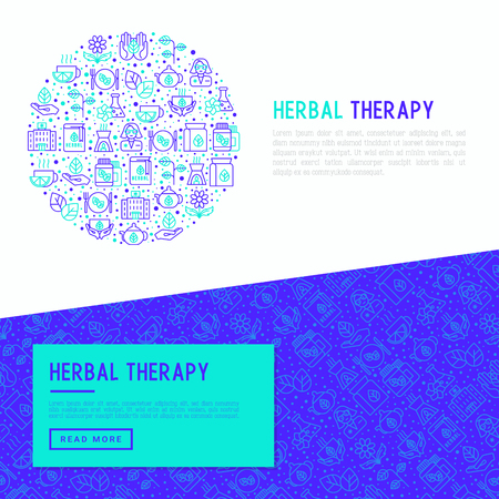 Herbal therapy concept in circle with thin line icons: herbalist, decoction, aromatic oil, oil burner, tea. Vector illustration for banner, web page, print media. Illustration