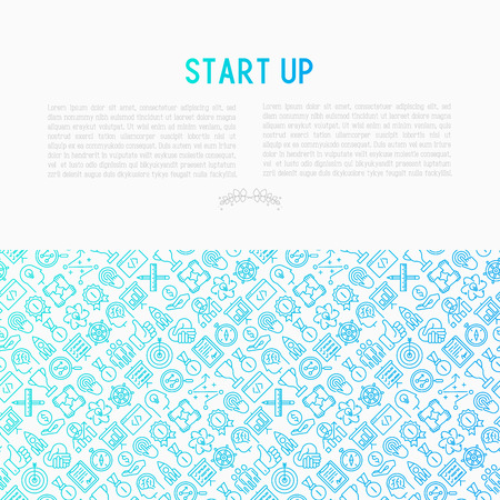 Start up concept with thin line icons. Vector illustration. print media with place for text.