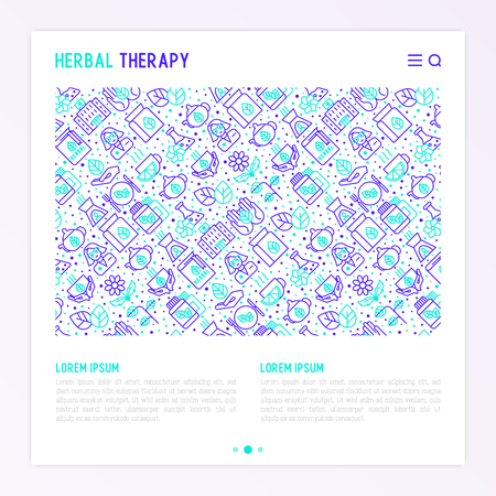 Herbal therapy concept with thin line icons Vector illustration