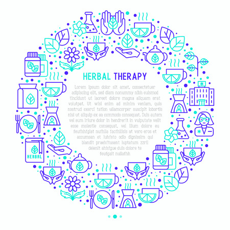 Herbal therapy concept in circle with thin line icons Vector illustration