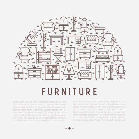 Furniture concept in half circle with thin line icons on Modern vector illustration