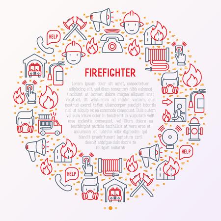 Brandweerman concept in cirkel met dunne lijn pictogrammen: brand, brandblusser, bijlen, slang, brandkraan. Moderne vectorillustratie voor banner, webpagina, gedrukte media.