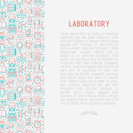 Concetto di scienza e laboratorio con icone di linea sottile di scienziato, DNA, microscopio, bilance, magnete, respiratore, lampada spirito. Illustrazione vettoriale per banner, pagina web, supporti di stampa.