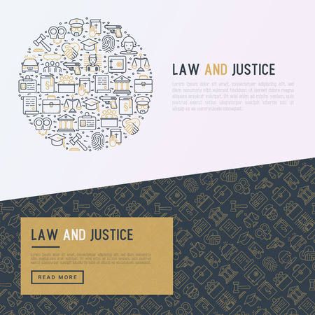Law and justice concept in circle with thin line icons: judge, policeman, lawyer, fingerprint, jury, agreement, witness, scales. Vector illustration for banner, web page, print media.
