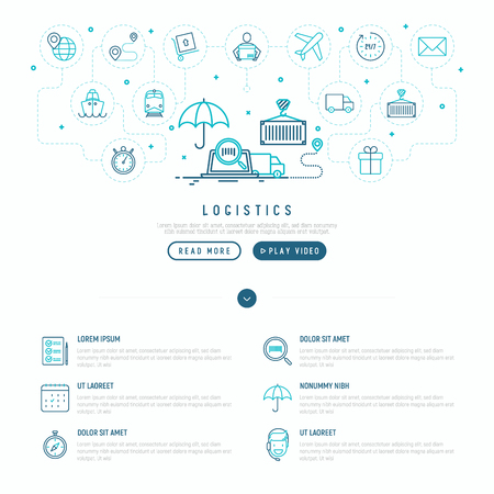 Logistics web page template with thin line icons of delivery, box, airplane, train, marine, crane, globe with pointer. Vector illustration.